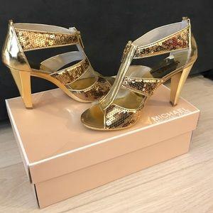 MICHAEL KORS Gold Sequin Berkley Strap Heel